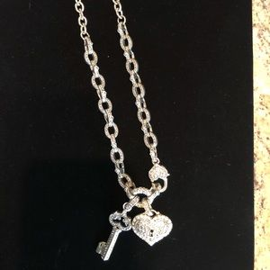 Tiffany style silver necklace with CZ's